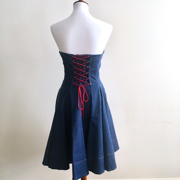 Euc Betsey Johnson Corset Fit Flare Jean Dress | Poshmark